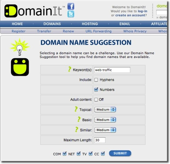domain suggestion tools domainit.com