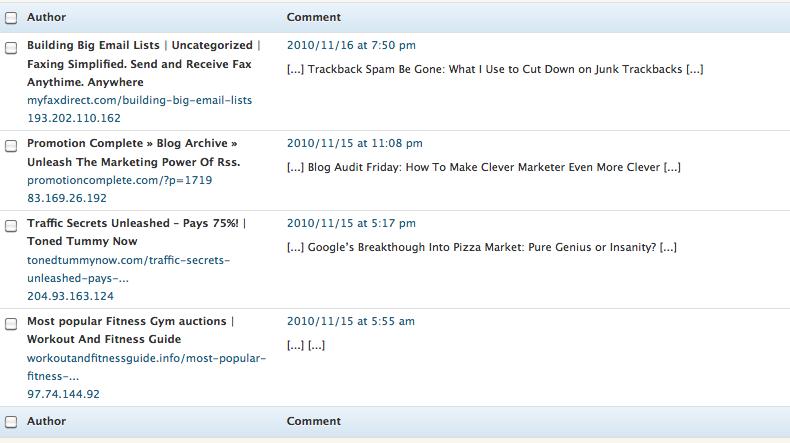 spam trackbacks image