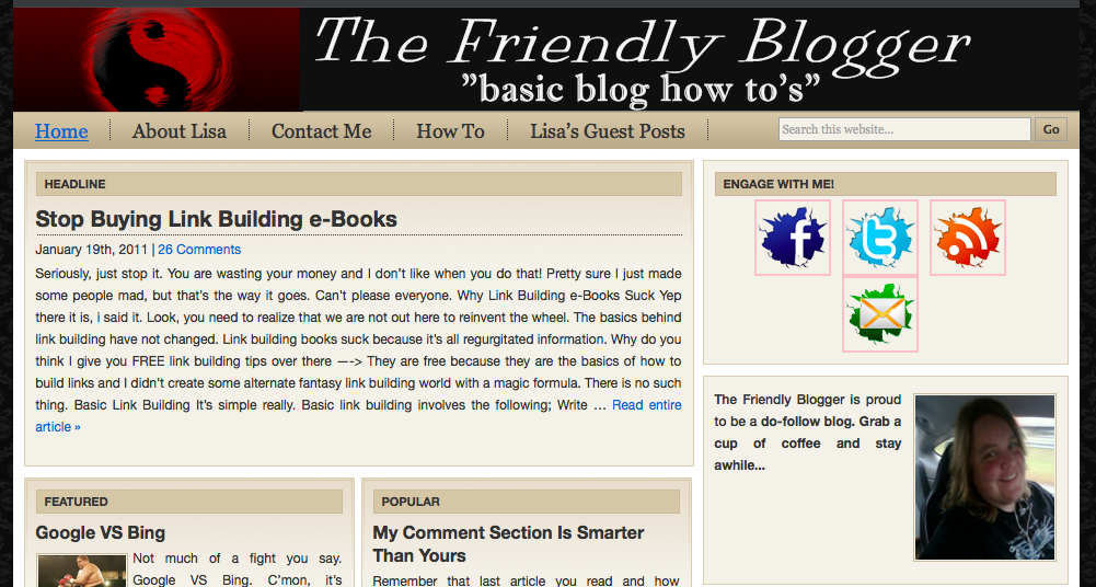 friendly blogger home page image