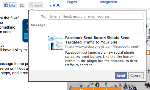 new facebook send button on webpronews