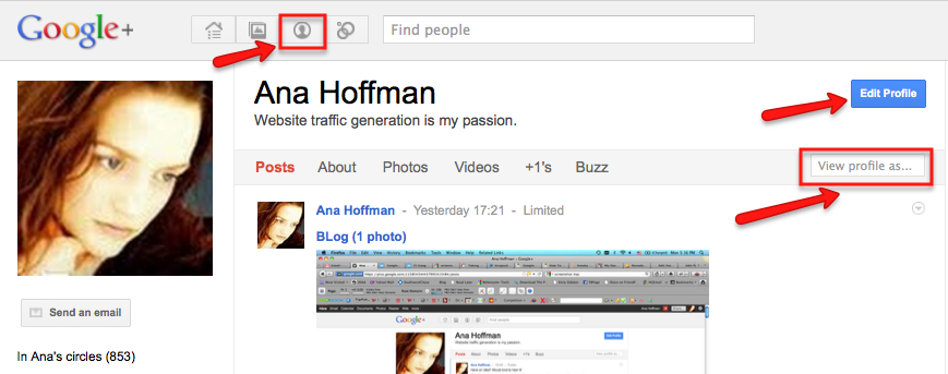 how to edit google plus profile