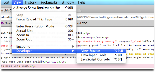 page source chrome