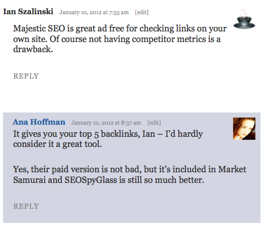 majestic seo comment from reader