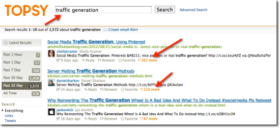 traffic generation topic on topsy