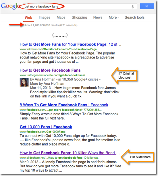 search ranking get fb fans