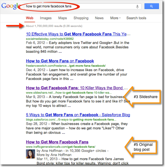 search ranking how to get more fb fans