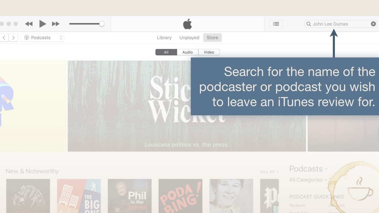 search for podcaster to leave iTunes Podcast Review