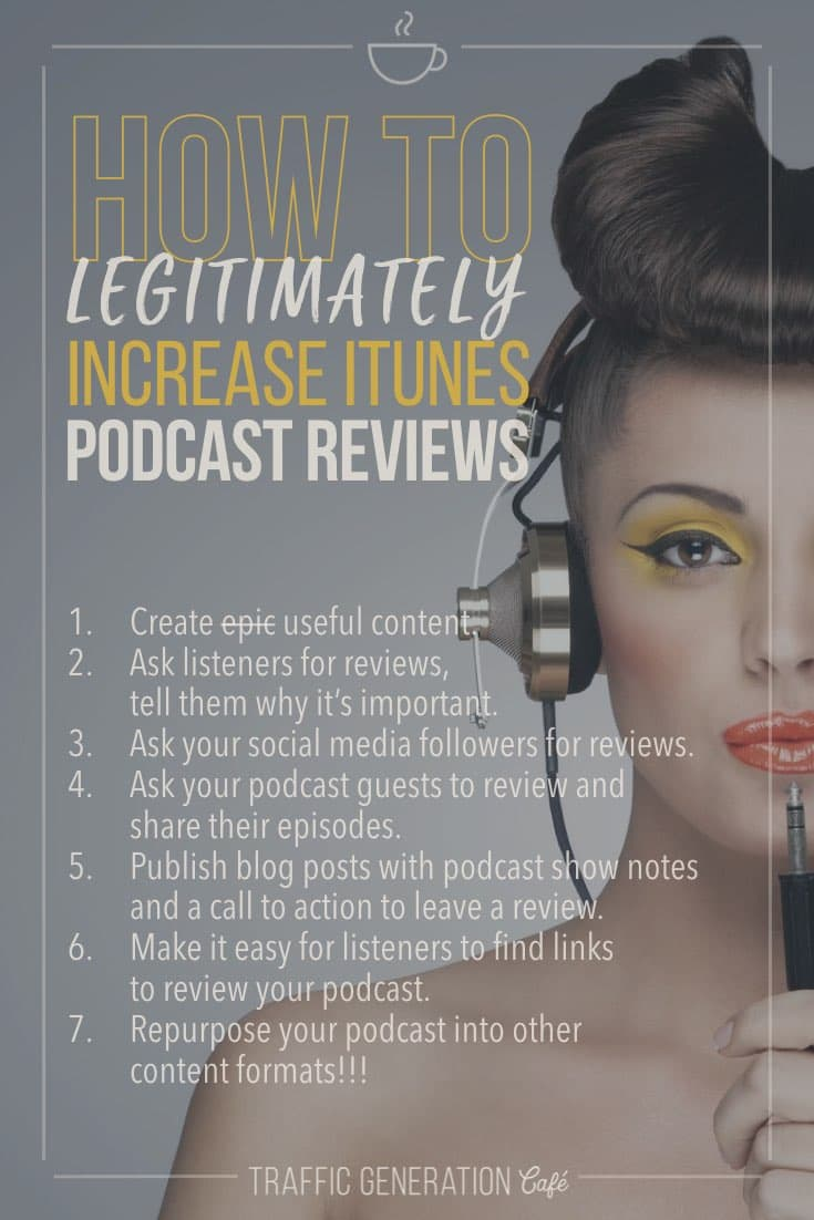 ?? iTunes podcast reviews are essential to the future success of your podcast. But do you get them? Click the link to learn 5 creative ways to get more legitimate iTunes podcast reviews ? ? http://tgcafe.it/podcast-reviews