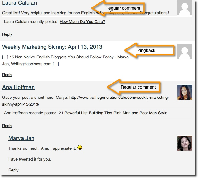 Wordpress trackback in comments