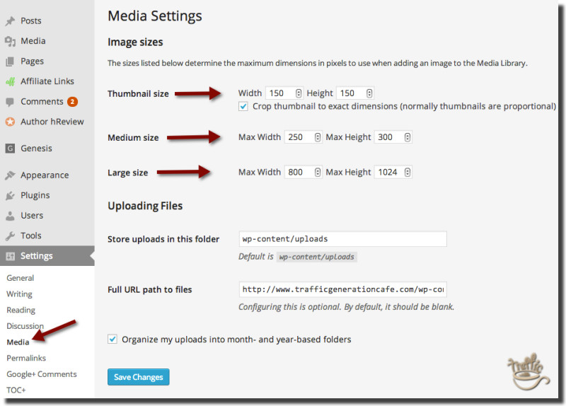 set correct image sizes wordpress