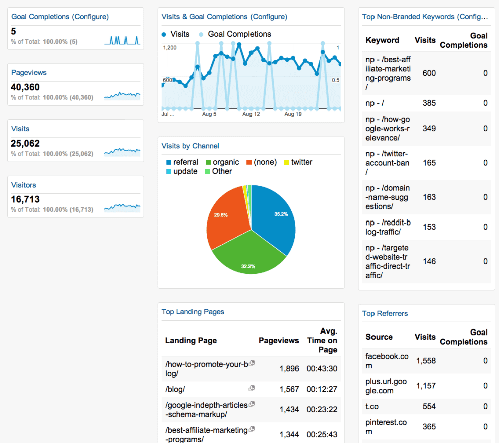 "What ""Leads"" Google Analytics Dashboard looks like"