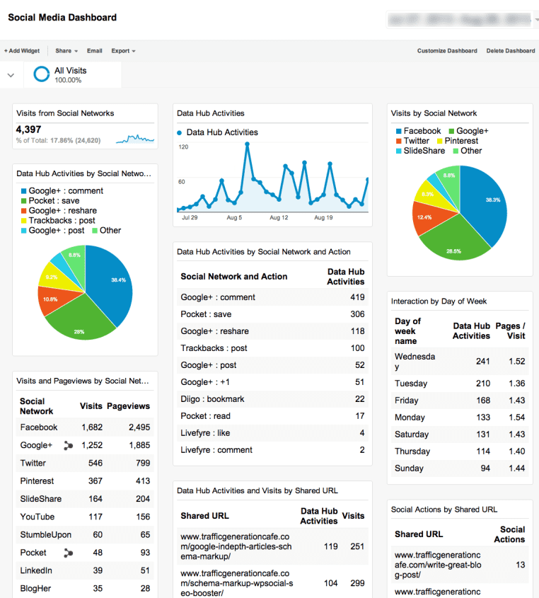What Social Media Google Analytics Dashboard looks like