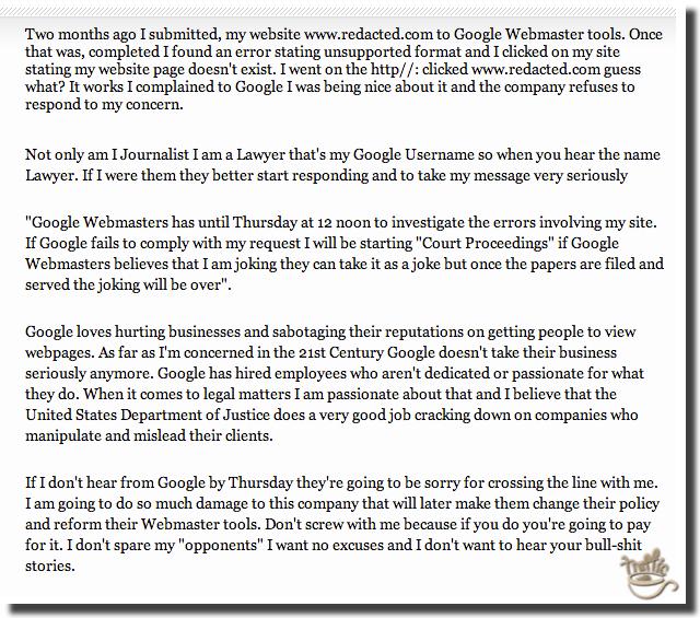 google webmaster tools complaint