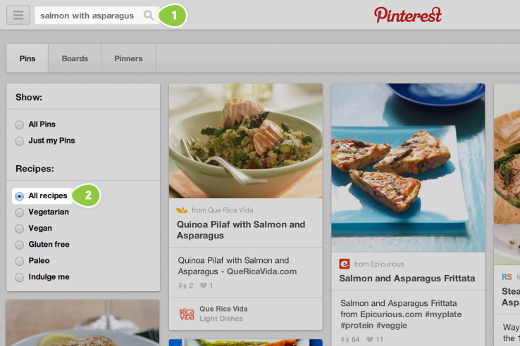 new pinterest recipe search