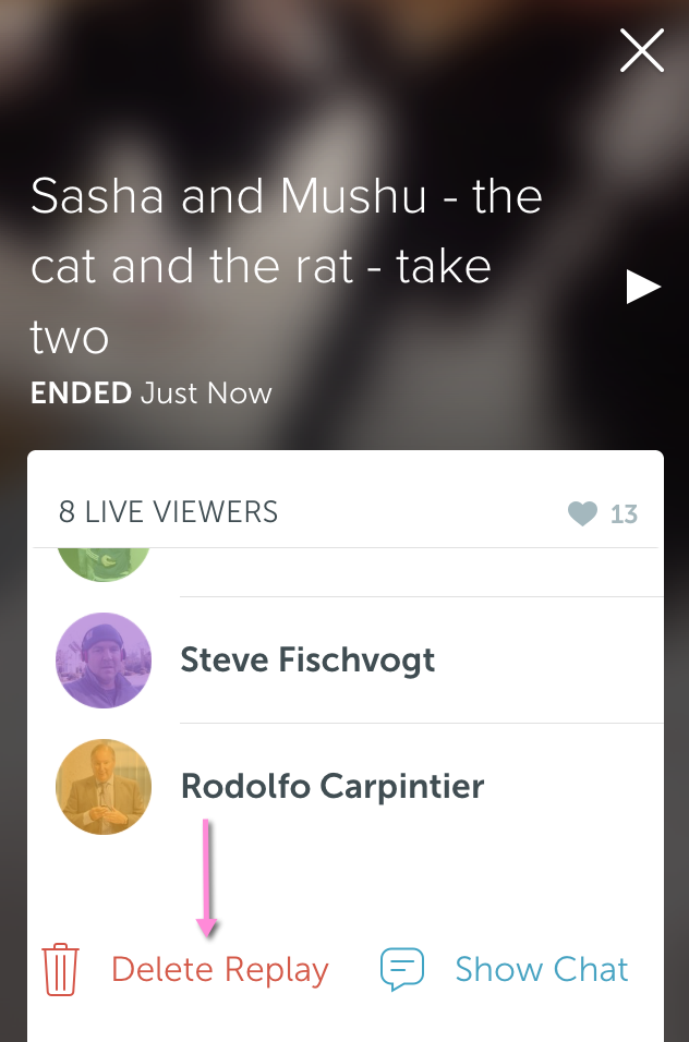 How to delete broadcast on Periscope