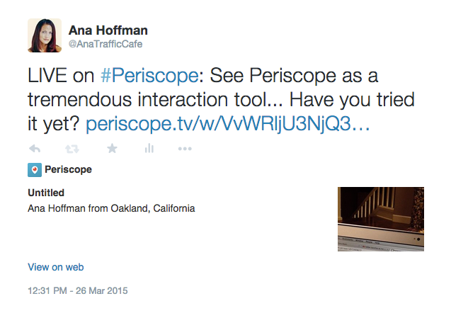 What periscope tweet looks like