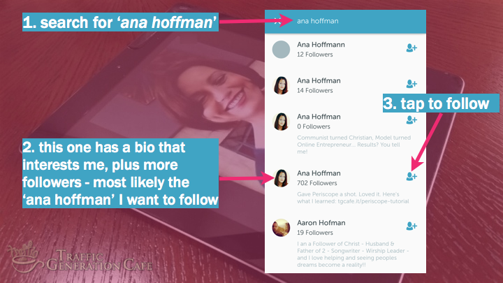 Periscope on Android Tutorial: search for users by names