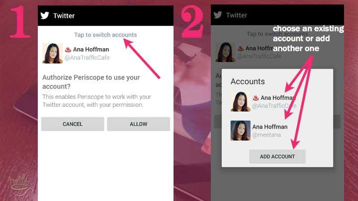 Periscope on Android Tutorial: how to switch between accounts
