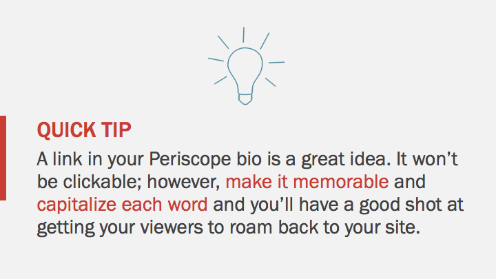 Periscope iOS Tutorial: your website link in Periscope profile tip
