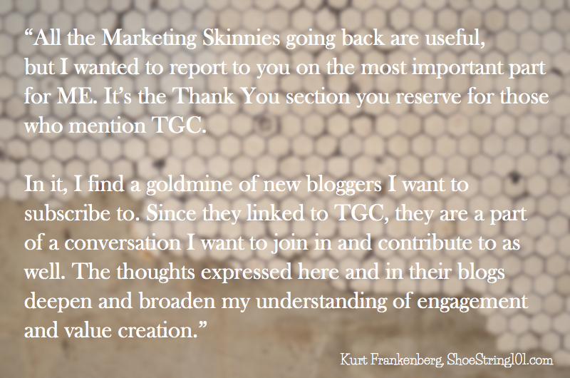 kurt frankenberg's comment on marketing skinny