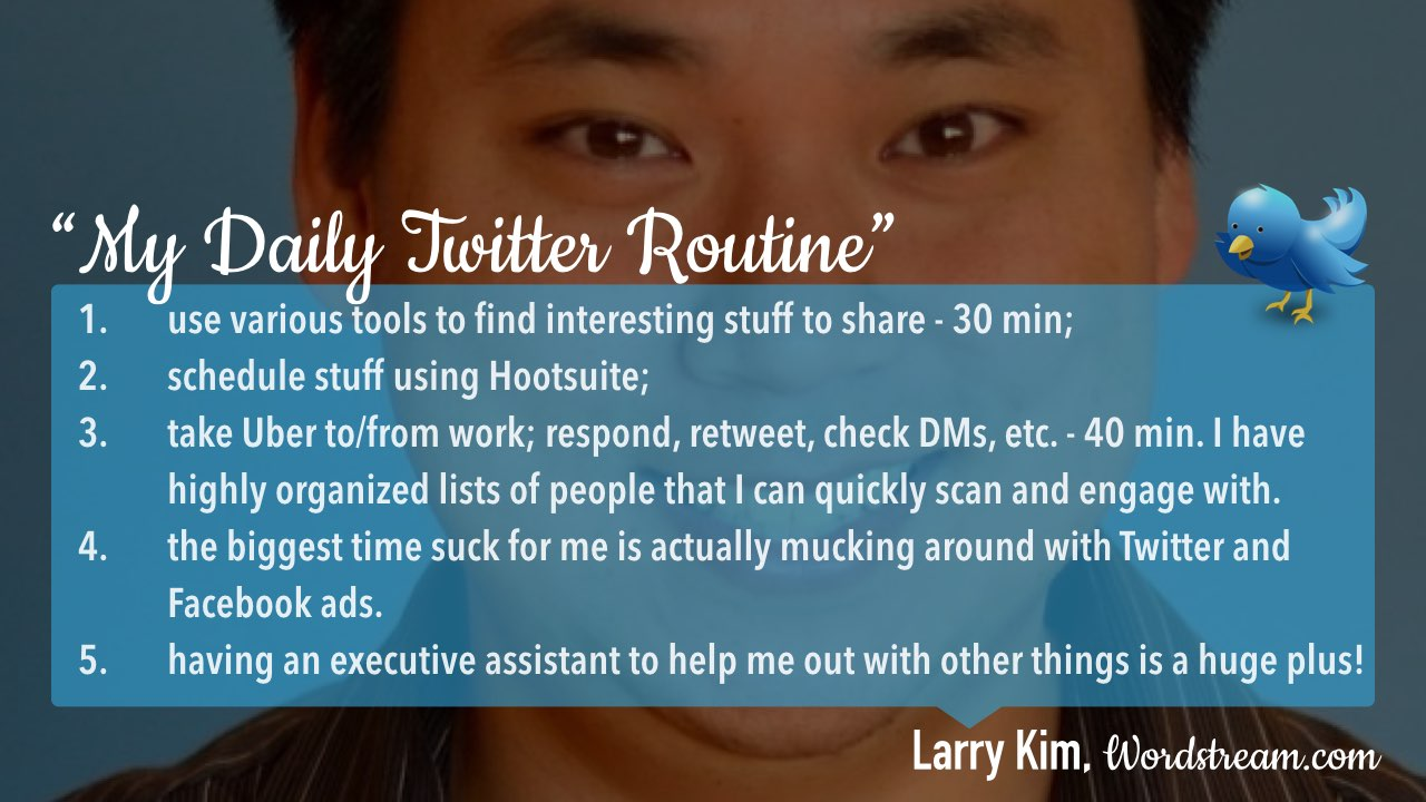 Twitter daily management routine Larry Kim