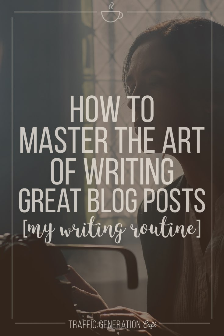 """https://trafficgenerationcafe.com/write-great-blog-post/ """"Almost all good writing begins with terrible first efforts. You need to start somewhere."""" ― Anne Lamott  Great blogs don't happen without great content.  Great content doesn't happen without growing pains.  Here's how I went from being a lousy writer to consistently writing blog posts that bring in thousands of visitors to Traffic Generation Café every day - with a step-by-step routine to help YOU write killer blog posts too."""
