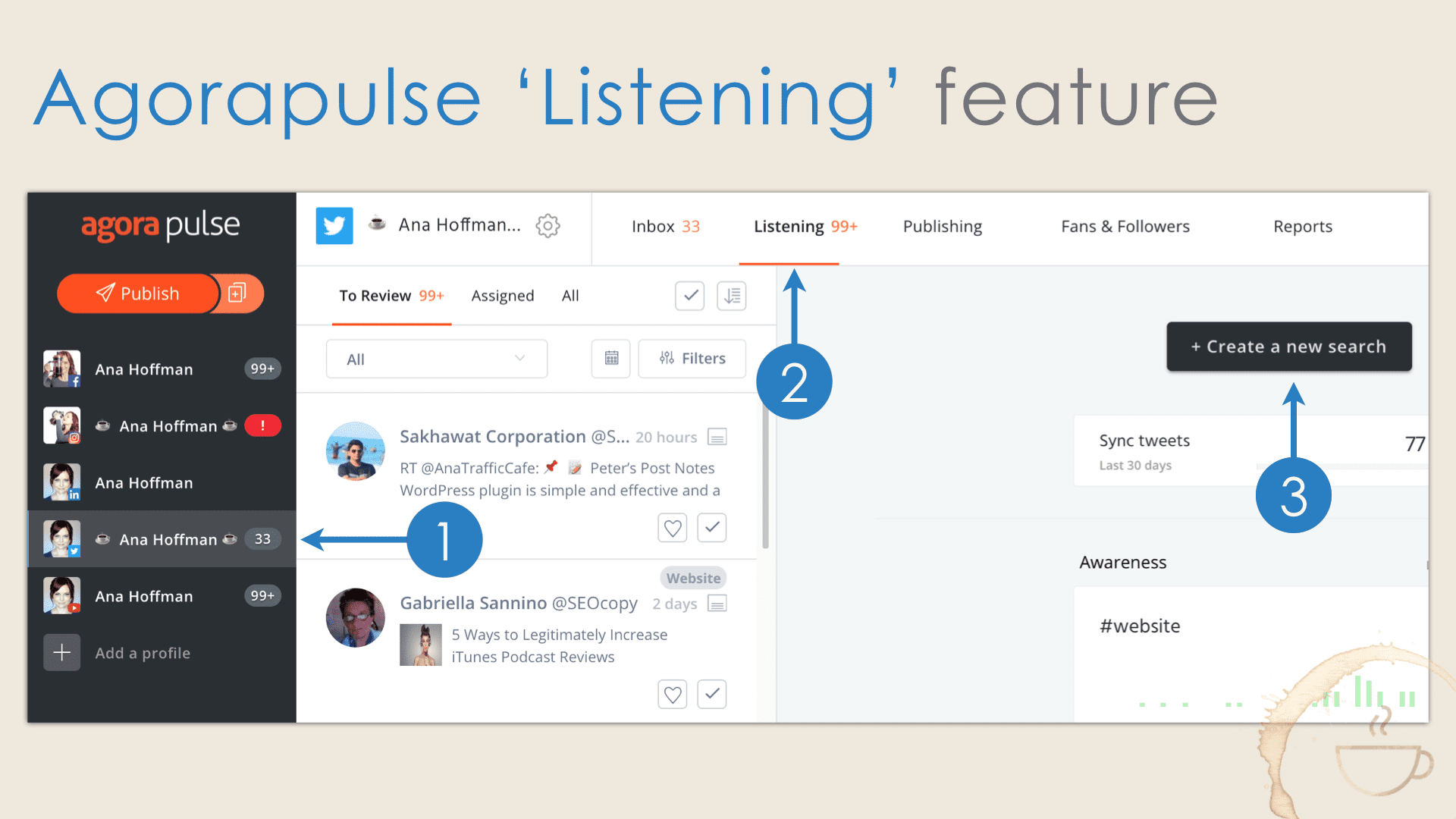 How Agorapulse Listening feature helps you to follow new users on Twitter.