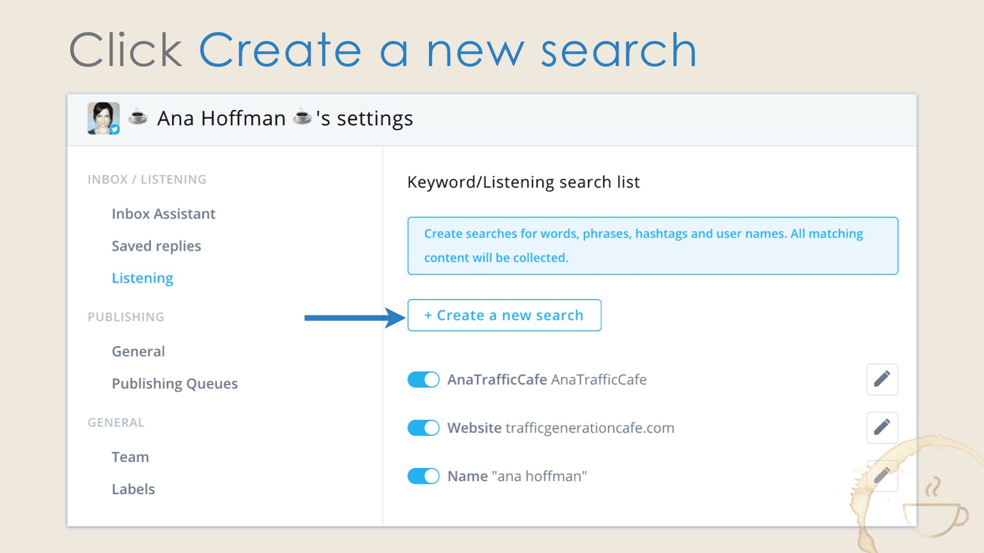 Create a new search in Agorapulse to follow more Twitter users