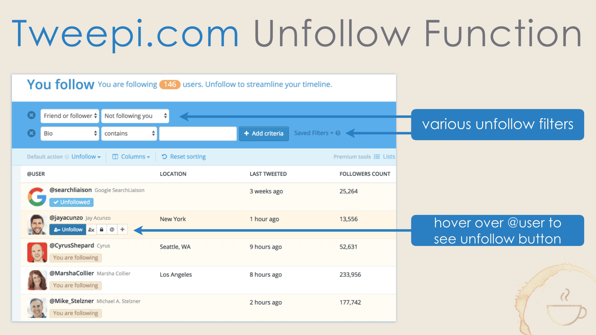 How to unfollow Twitter users with Tweepi.