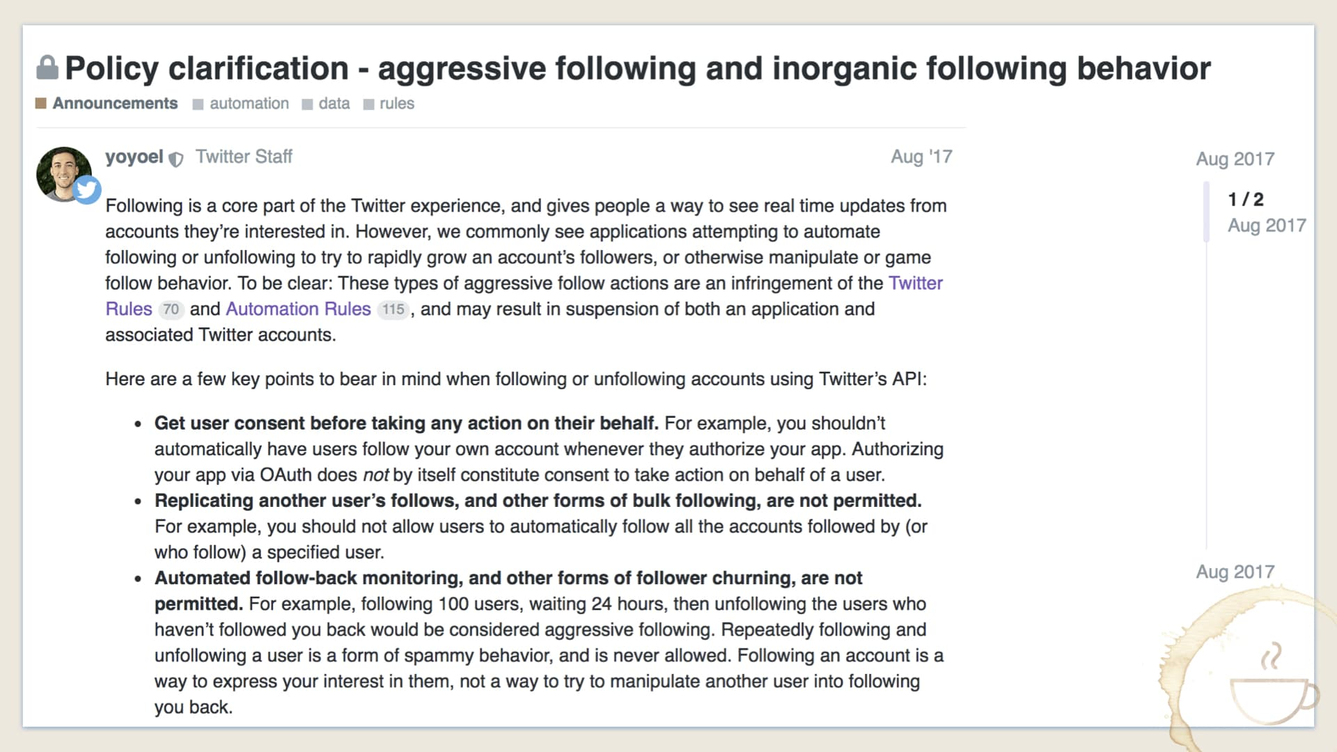 Twitter clarifies policy on aggressive behavior and inorganic behavior