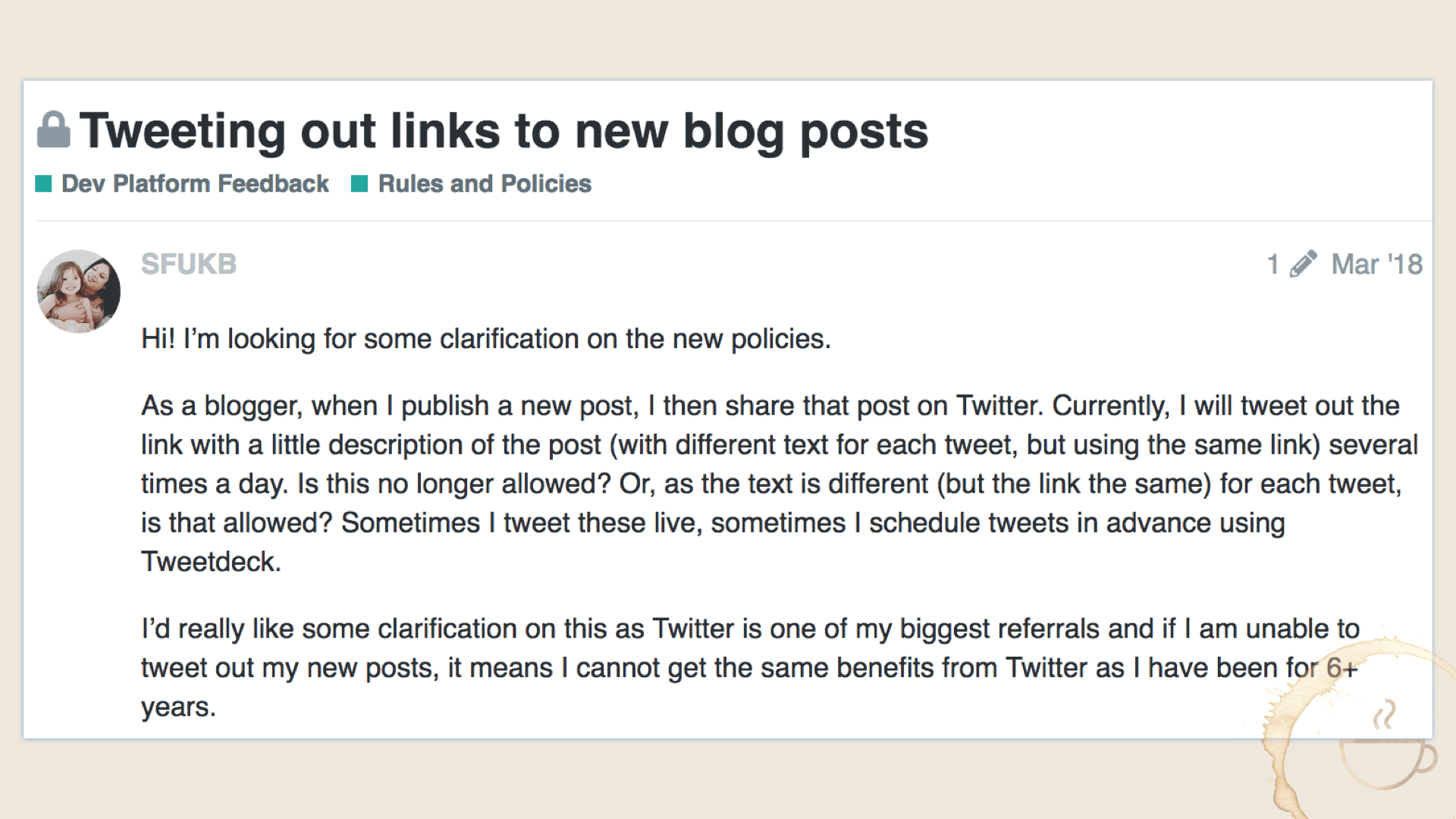 Will my Twitter account be suspended in the tweets links to my new blog posts?