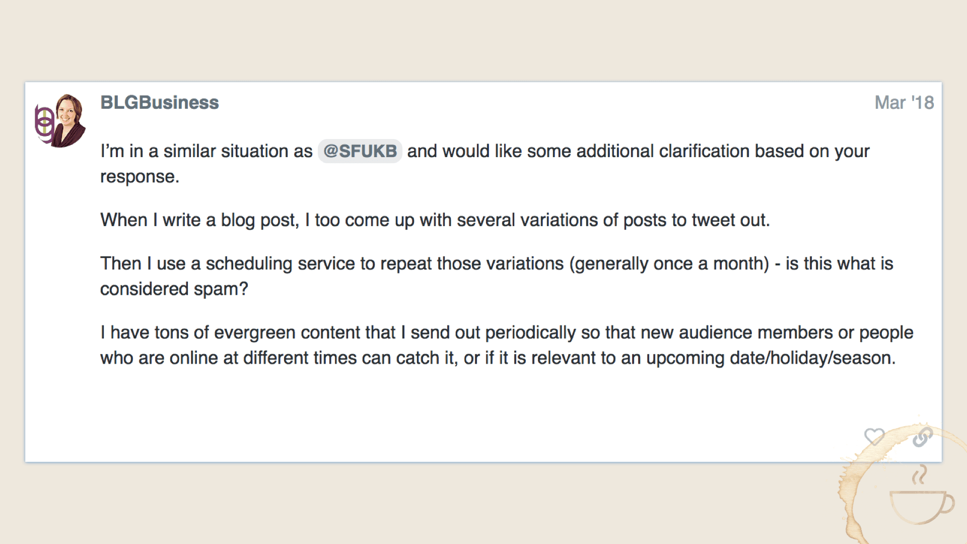 Precision on Tweeting links to my new blog posts will they suspend my Twitter account, please?