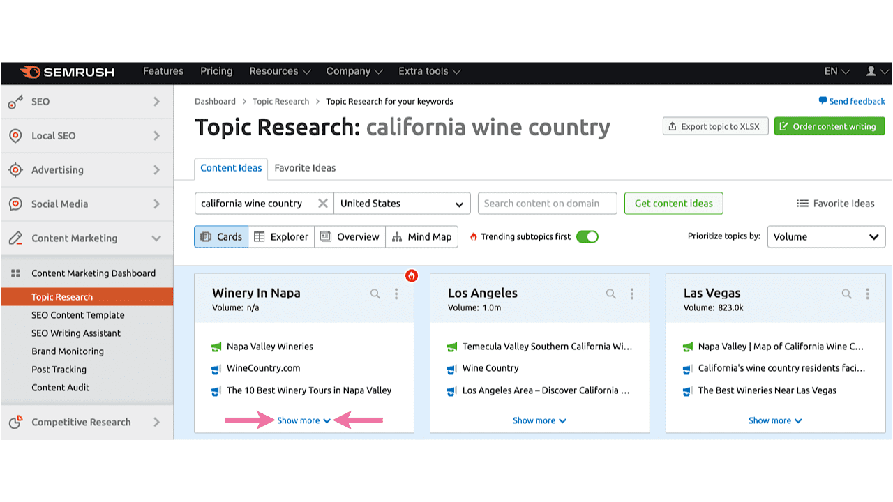 See more details in Topic Research in SEMrush