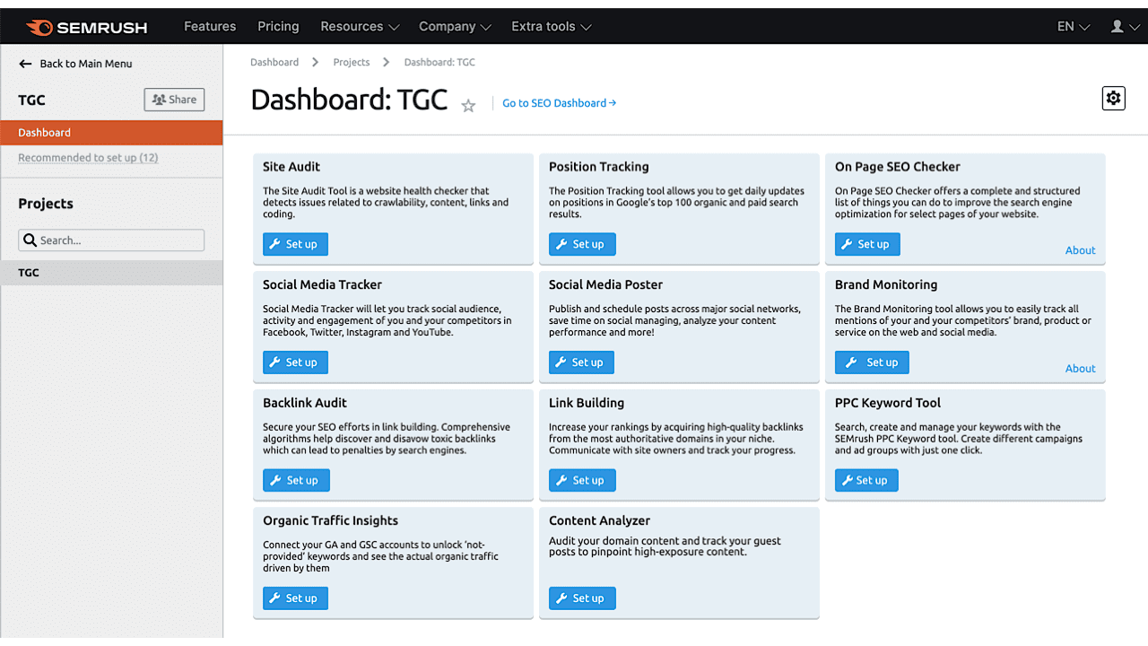 The Tools from SEMrush Project Dashboard